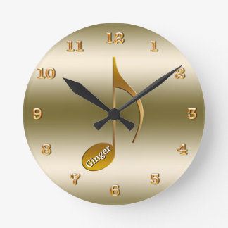 Add Name Elegant Gold Music Note | For Music Lover Round Clock
