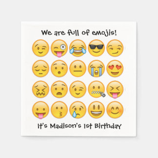 Add Name - Emoji Birthday Party Personalized Paper Serviettes