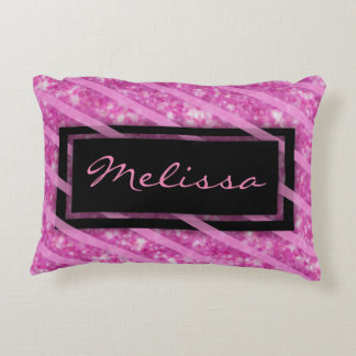 Add Name | Hot Pink Glitter Decorative Cushion
