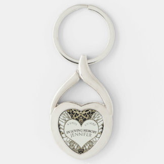 Add Name In Loving Memory Silver-Colored Twisted Heart Key Ring