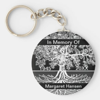 Add Name   Memorial   Tree of Life Basic Round Button Key Ring