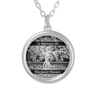 Add Name | Memorial | Tree of Life Round Pendant Necklace