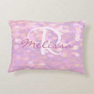 Add Name | Monogram | Pink Bokeh Lights Decorative Cushion