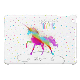 Add Name Personalised Rainbow Unicorn Gold Glitter iPad Mini Covers