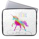 Add Name Personalised Rainbow Unicorn Gold Glitter Laptop Sleeve