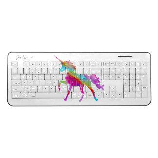 Add Name Personalised Rainbow Unicorn Wireless Keyboard