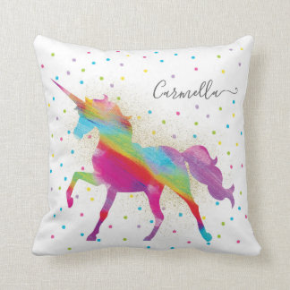 Add Name Personalized Rainbow Unicorn Gold Glitter Cushion
