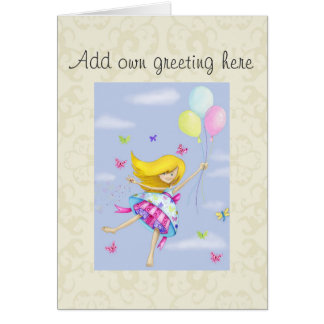 Add name Pretty Girly Fairy Princess Cards - Pinks