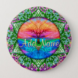 Add Name   Rainbow Heart Tree 10 Cm Round Badge