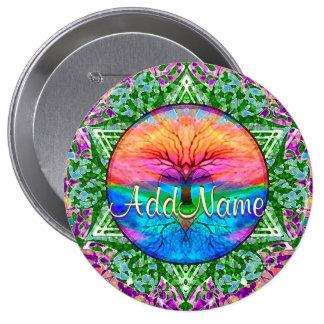 Add Name | Rainbow Heart Tree 10 Cm Round Badge