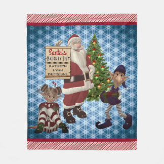 "Add Name ""Santa's Naughty List"" Candy Cane Stripes Fleece Blanket"