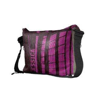 Add Name Stripe Pink Messenger Bag