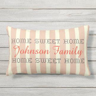 Add name striped cross stitch home sweet home lumbar cushion