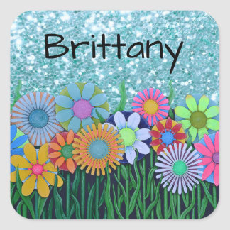 Add Name to Colored Flowers Blue Glitter Sticker