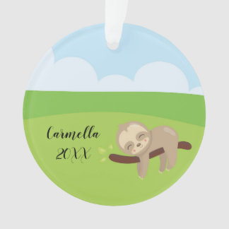 Add Name & Year to Personalized Sleepy Sloth Ornament