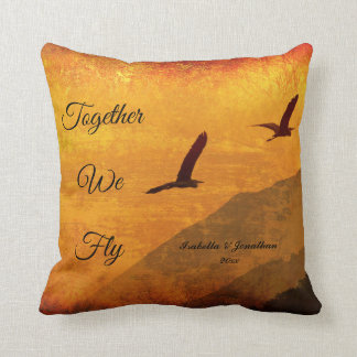Add names | birds in flight | together we fly cushion