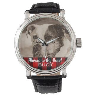 Add Pet Photo Custom Dog Picture Memorial Rustic Watch