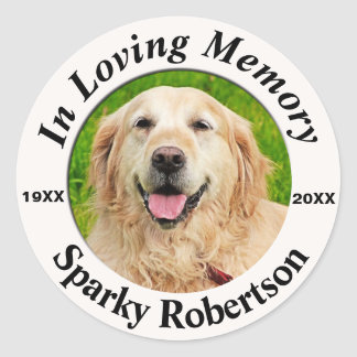 Add Photo Pet Memorial Classic Round Sticker