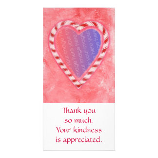Add Photo thank you cards, Christmas candy heart Card