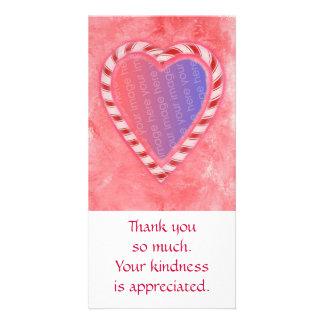 Add Photo thank you cards, Christmas candy heart Custom Photo Card