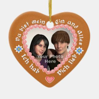 Add Photo to this Romantic German 'Lebkuchen' Ceramic Heart Decoration