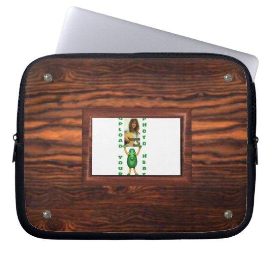Add photo to wood border illusion laptop sleeve