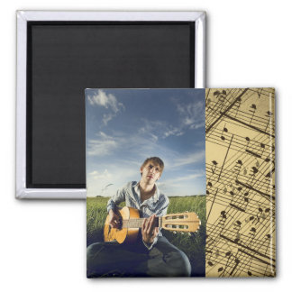 Add Photo w/Sheet Music Square Magnet