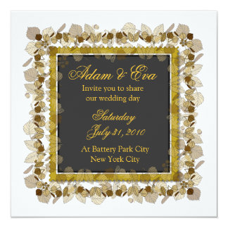 "Add Photo Wedding Invitation Grey Gold Leaf 2 5.25"" Square Invitation Card"