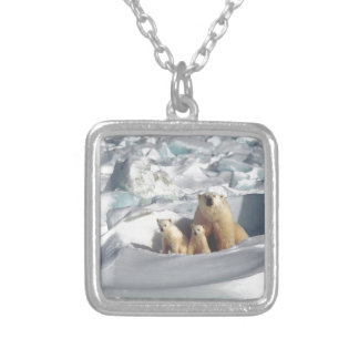 Add SLOGAN to Save Arctic Polar Bears Planet Ice Silver Plated Necklace