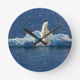 Add SLOGAN to Save Polar Bears Arctic Planet Ice Round Clock