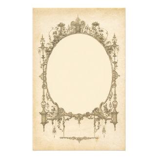 Add text & image to ornate vintage frame, border stationery