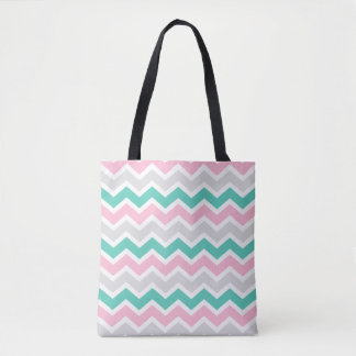 Add Text or Image Pink Teal Chevron Design Tote Bag