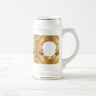 Add Three Photos! Elegant Gold Picture Frame Stein Beer Steins