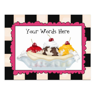Add Words Banana split postcard