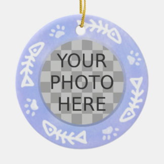 Add Your Cat's Photo: Fish and Pawprints Ceramic Ornament