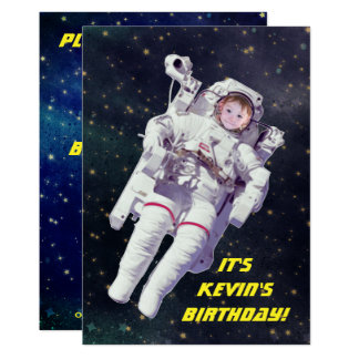 Add Your Child's Photo Astronaut Space Birthday Card