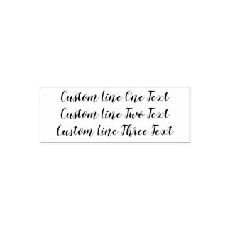 Add your favorite Text - Three Lines Script Self-inking Stamp