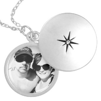 Add your Image Romantic Black and White Couple Locket Necklace