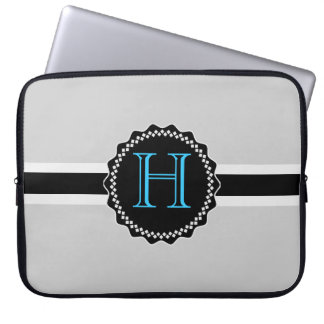 ADD YOUR INITIALS! BLACK AND GREY LAPTOP SLEEVE