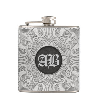 Add your initials - Faux silver/platinum embossed Hip Flask
