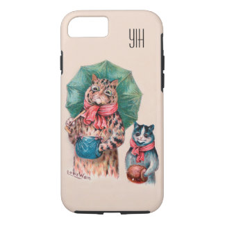 Add Your Initials Louis Wain Cats and Umbrellas iPhone 7 Case