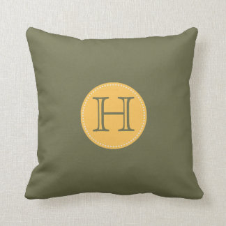 ADD YOUR INITIALS!OLIVE GREEN, YELLOW THROW PILLOW CUSHION