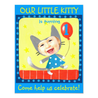add your kids photo cute girly 1st birthday kitty card