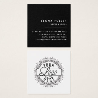 Add Your Logo   Modern Black and White Square Business Card