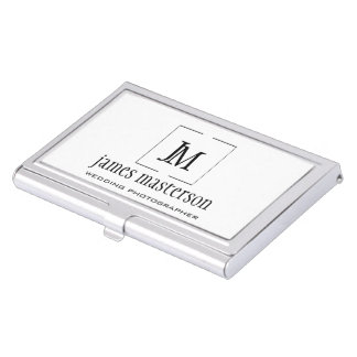 Add Your Logo / Modern Frame Minimalist Monogram Business Card Holder