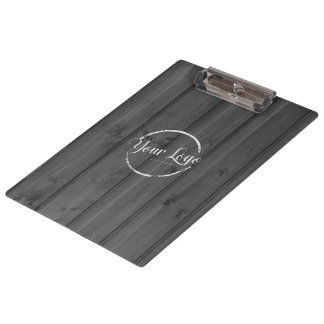 Add your logo on dark grey wood board clipboard