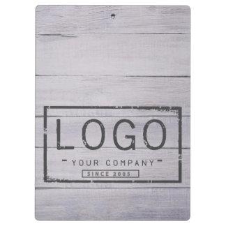 Add your logo on grey wood boards clipboard