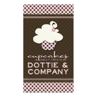 Add Your Logo Pink & Brown Polka Dots Business Car Double-Sided Standard Business Cards (Pack Of 100)