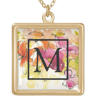 Add Your Monogram | Pattys Plum Gold Plated Necklace