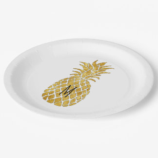 add your monogram pineapple paper plate